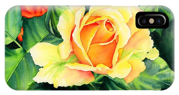 Peach iPhone Case - Yellow Roses by Hailey E Herrera