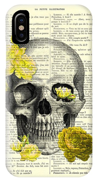 Floral iPhone X Case - Skull With Yellow Roses Dictionary Art Print by Madame Memento