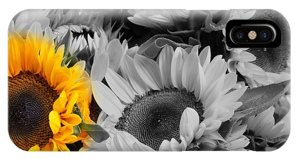 Yellow Sunflower On Black And White IPhone Case