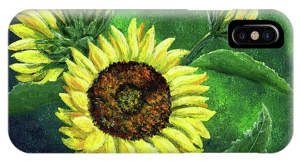 Yellow Sunflowers On Green Phone Case by Laura Iverson