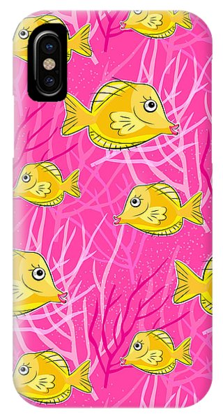 Reef Diving iPhone Case - Yellow Tang In Pink Coral Sea by Antique Images