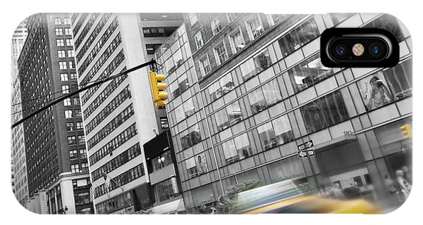New York City Taxi iPhone Case - Yellow Taxi Nyc by Delphimages Photo Creations