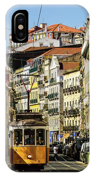 Yellow Tram In Downtown Lisbon, Portugal IPhone Case