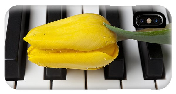 Black Tulip iPhone X Case - Yellow Tulip On Piano Keys by Garry Gay