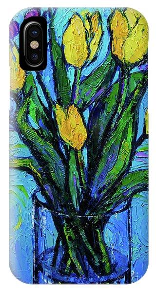 White Tulip iPhone Case - Yellow Tulips And Freesia by Mona Edulesco