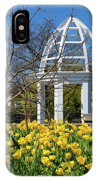 Tulip iPhone X / XS Case - Yellow Tulips And Gazebo by Tom Mc Nemar