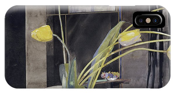 Black Tulip iPhone X Case - Yellow Tulips By Charles Rennie Mackintosh by Charles Rennie Mackintosh