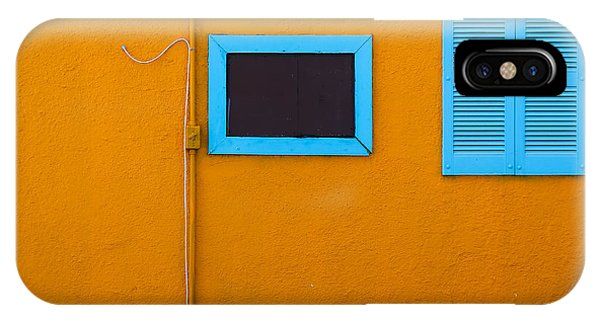Yellow Wall, Blue Trim IPhone Case