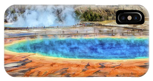 IPhone Case featuring the painting Yellowstone National Park Grand Prismatic Spring by Christopher Arndt