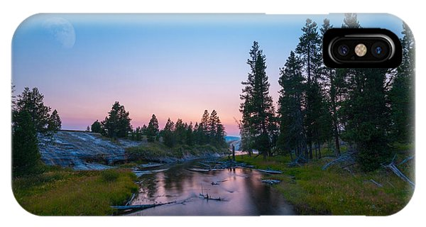Yellowstone National Park iPhone Case - Yellowstone National Park Sunset And Moon by Michael Ver Sprill