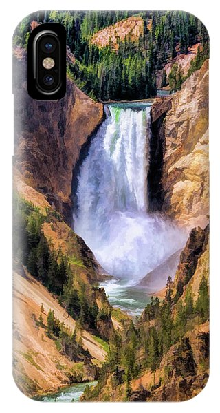 IPhone Case featuring the painting Yellowstone National Park Upper Falls by Christopher Arndt