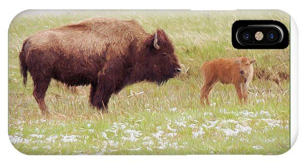 Yellowstone Poster With Bison IPhone Case