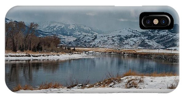 Yellowstone River In Light Snow IPhone Case