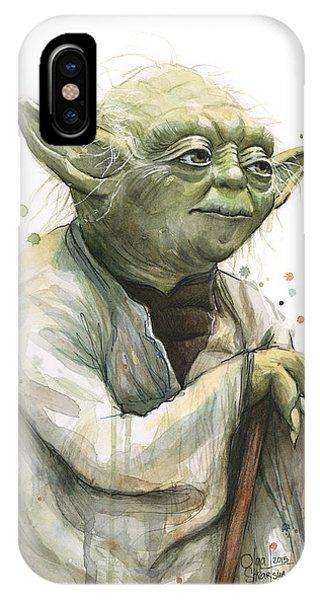 Nerd iPhone Case - Yoda Watercolor by Olga Shvartsur