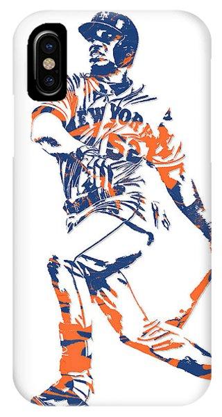 New York Mets iPhone Case - Yoenis Cespedes New York Mets Pixel Art 4 by Joe Hamilton