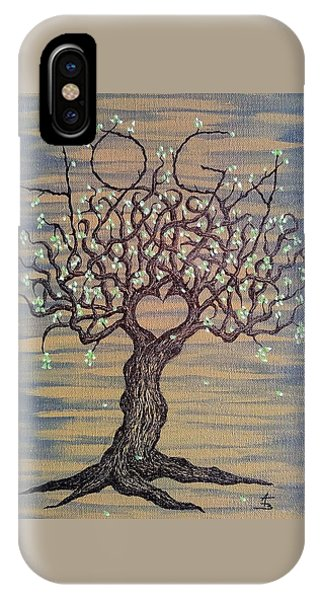 IPhone Case featuring the drawing Yoga Love Tree by Aaron Bombalicki