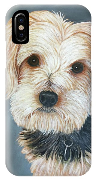 IPhone Case featuring the painting Yorkie Portrait by Karen Zuk Rosenblatt