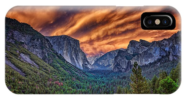 Cathedral Rock iPhone Case - Yosemite Fire by Rick Berk