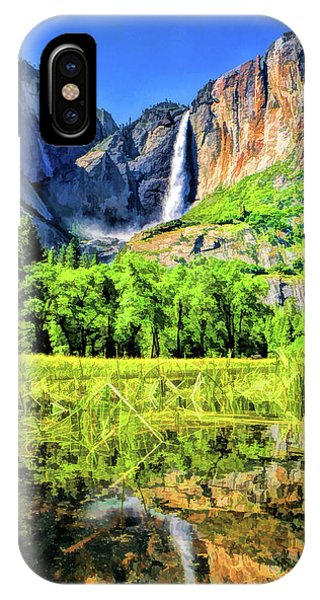 IPhone Case featuring the painting Yosemite National Park Bridalveil Fall by Christopher Arndt