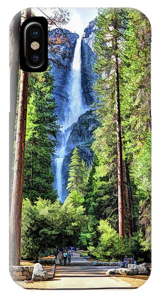 IPhone Case featuring the painting Yosemite National Park Bridalveil Fall Trees by Christopher Arndt