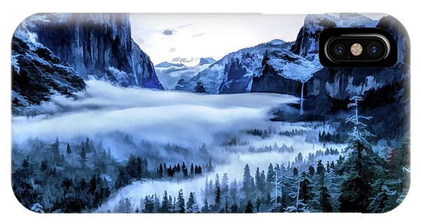 IPhone Case featuring the painting Yosemite National Park Tunnel View Snowy Morning by Christopher Arndt