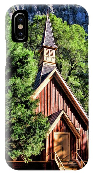 IPhone Case featuring the painting Yosemite National Park Valley Chapel by Christopher Arndt
