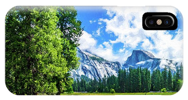Yosemite Valley And Half Dome Digital Painting IPhone Case
