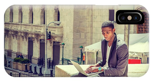 Young African American Man Working On Wall Street In New York IPhone Case