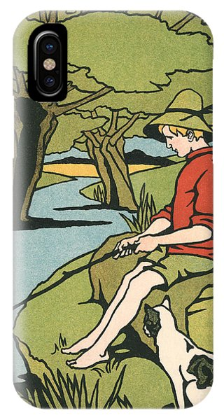 Fishing iPhone Case - Young Boy Sitting On A Log Fishing In A Small River In The Country With His Cat by American School
