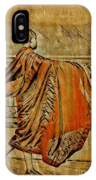 IPhone Case featuring the mixed media Young Buddhist Monk by Lita Kelley