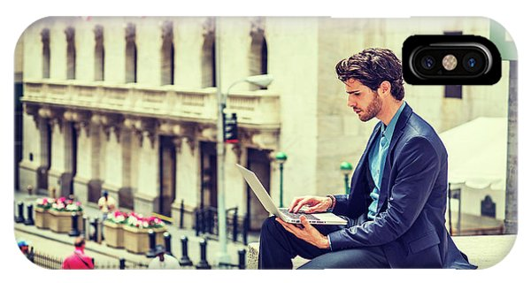 Young Businessman Working On Wall Street In New York IPhone Case