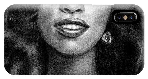 Young Chaka Khan - Charcoal Art Drawing IPhone Case