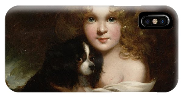 King Charles iPhone Case - Young Girl With A Dog by Margaret Sarah Carpenter
