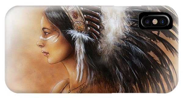 Native American Spirit Portrait iPhone Case - Young Indian Woman Wearing A Big Feather Headdress A Profile Portrait On Structured Abstract by Jozef Klopacka