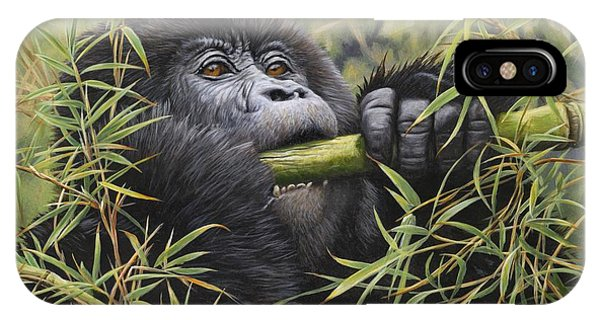 IPhone Case featuring the painting Young Mountain Gorilla by Alan M Hunt