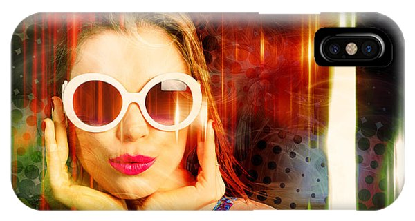 Culture Club iPhone Case - Young Retro Woman Listening To Earphones by Jorgo Photography - Wall Art Gallery