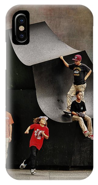 Young Skaters Around A Sculpture IPhone Case