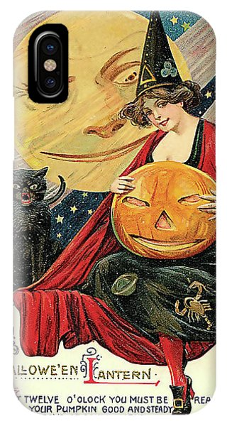 Moon iPhone Case - Young Witch With Halloween Lantern by Long Shot