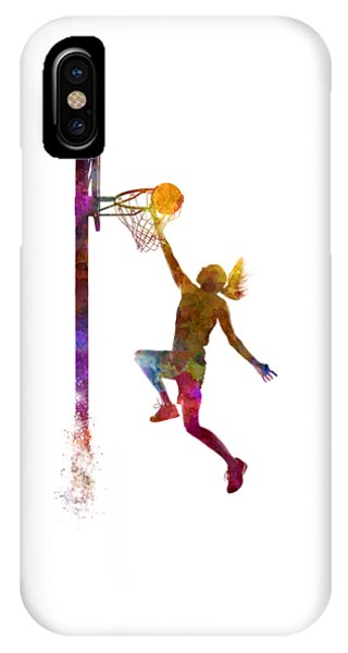 Players iPhone Case - Young Woman Basketball Player 04 In Watercolor by Pablo Romero