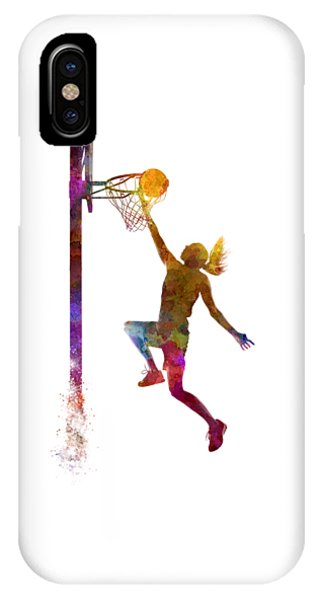Basketball iPhone Case - Young Woman Basketball Player 04 In Watercolor by Pablo Romero