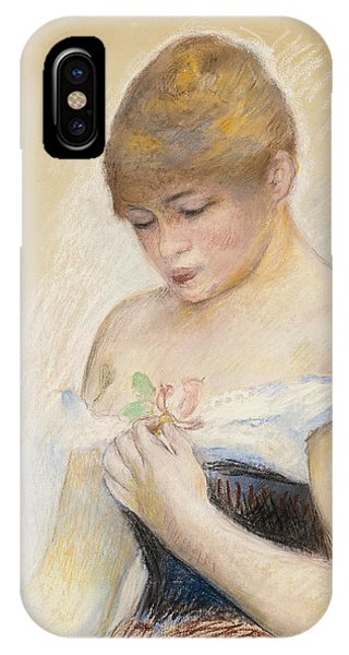 Impressionistic iPhone Case - Young Woman Holding A Flower. Portrait Of Jeanne Samary by Pierre-Auguste Renoir
