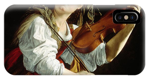 Music iPhone X Case - Young Woman With A Violin by Orazio Gentileschi