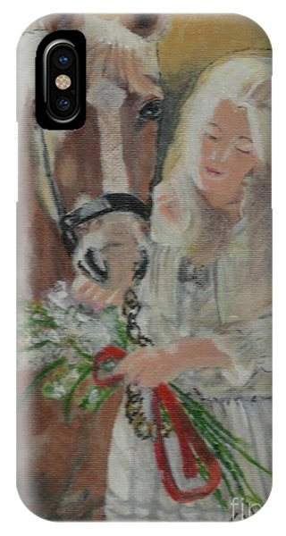 Young Woman With Horse IPhone Case