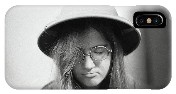 Young Woman With Long Hair, Wearing A Pith Helmet, 1972 IPhone Case