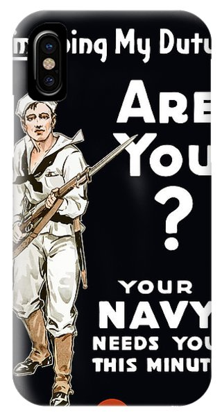 Wwi iPhone Case - Your Navy Needs You This Minute by War Is Hell Store