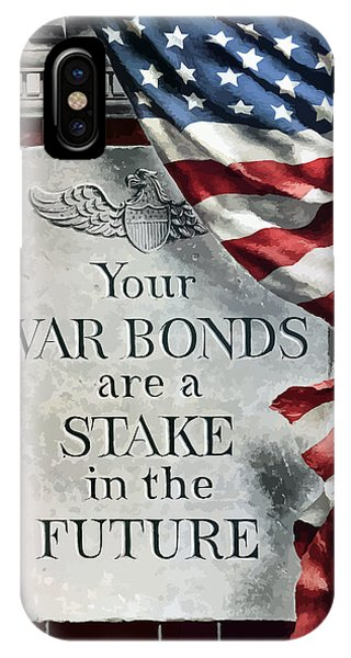 American Flag iPhone Case - Your War Bonds Are A Stake In The Future by War Is Hell Store