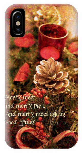 IPhone Case featuring the digital art Yule Greetings 2017 by Kathryn Strick