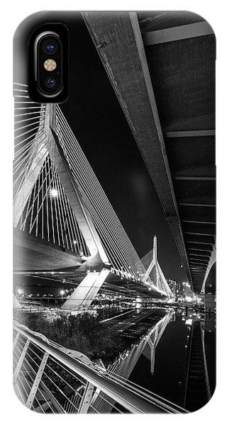 Zakim Bridge From Under The Leverett Connector Bridge IPhone Case