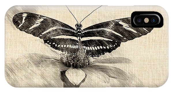 Zebra Butterfly Sketch IPhone Case