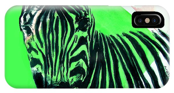 Zebra In Green IPhone Case